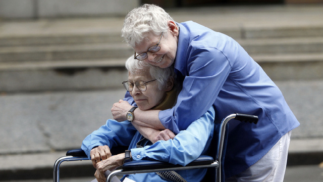 Phyllis Siegel (left) and Connie Kopelov (right) of New York City, the first same-sex couple to get married at the Manhattan City Clerk's office.
