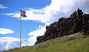 Flag at Þingvellir; Iceland