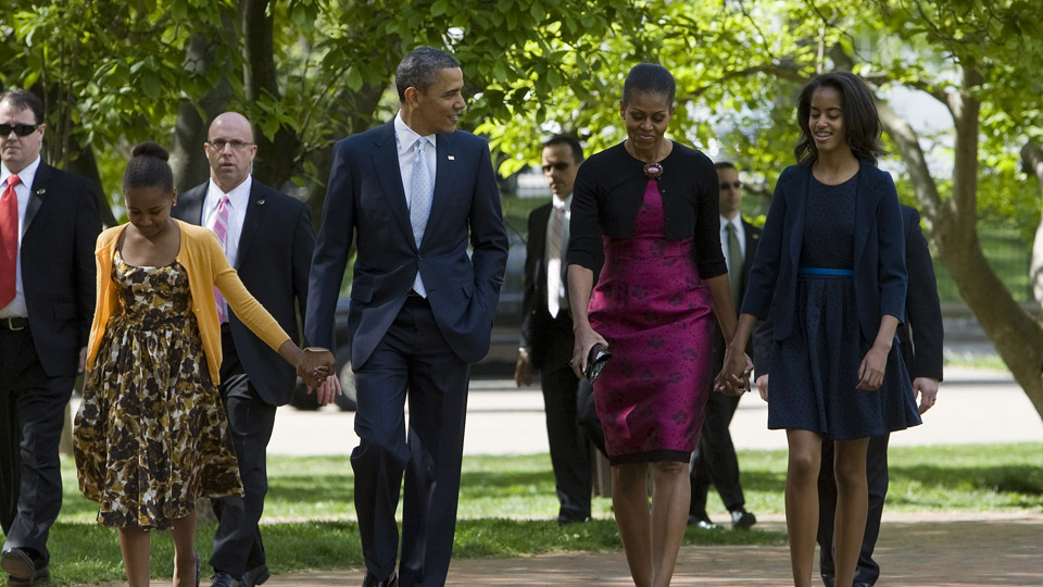 The First Family on their way to Easter Services 2012