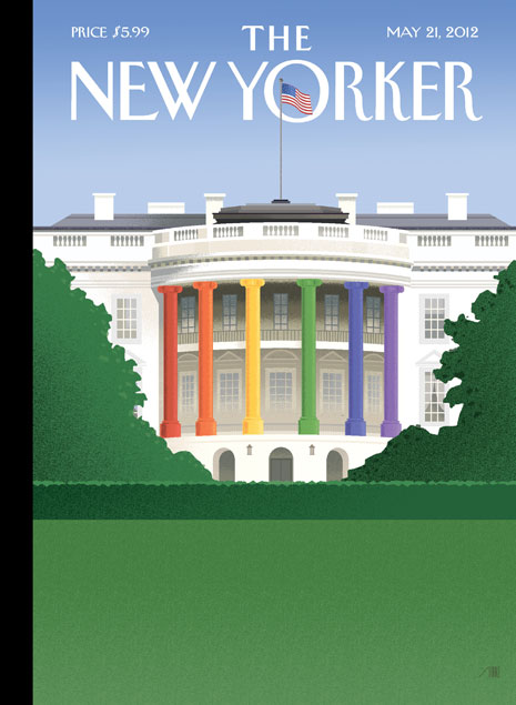 New Yorker Magazine cover: Rainbow columns at the White House