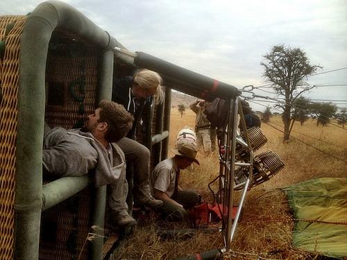 Passengers preparing for their hot air balloon adventure over the Serengeti