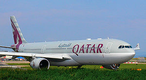 English: Qatar Airlines at Manchester Airport