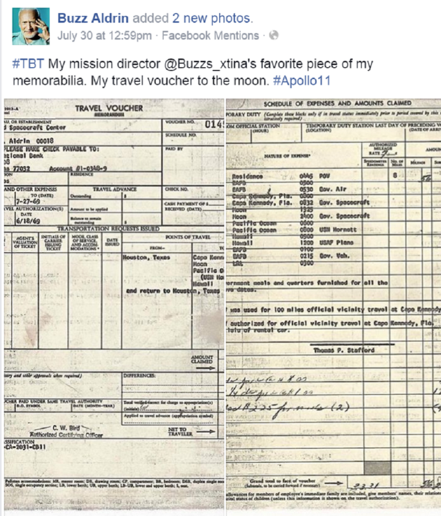 Buzz Aldrin's travel expense report from the Apollo 11 mission